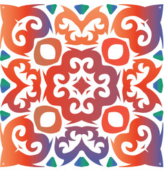 Colored decorative ornament in ethnic ceramic tile vector