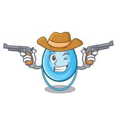 cowboy oxygen mask character cartoon vector image