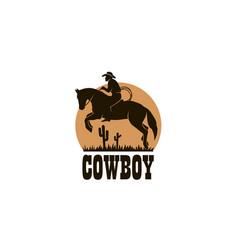 cowboy silhouette icon vector image