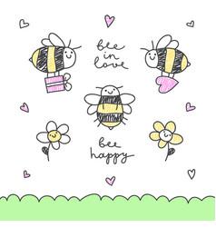 cute bees set vector image