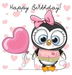 Cute cartoon penguin girl with a balloon vector