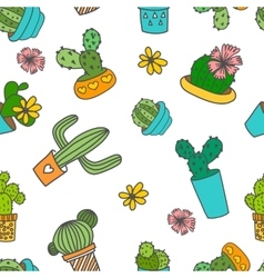 Cute doodle cactus and flowers in a pots vector image vector image
