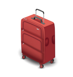dark red travel plastic suitcase with wheels vector image