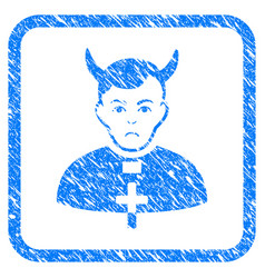 Devil priest framed stamp vector