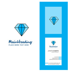 diamond creative logo and business card vertical vector image