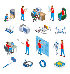 Digital gadget evolution isometric icons vector