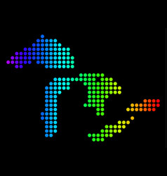 Dotted pixel spectrum great lakes map vector