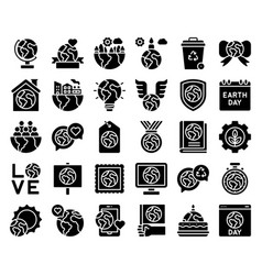 Earth day related icon set 2 solid style vector