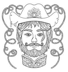 Entangle coloring page for adults with man face vector