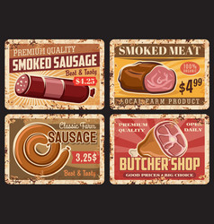 farm smoked sausages butchery rusty metal plates vector image