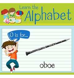 Flashcard letter o is for oboe vector