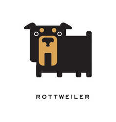 Flat cartoon rottweiler character standing vector