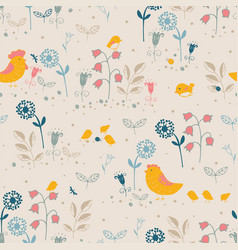 floral pattern with flowers and chicks vector image