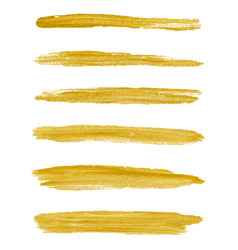Gold paint textured abstract brushes vector