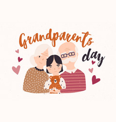 grandfather and grandmother cuddling with vector image