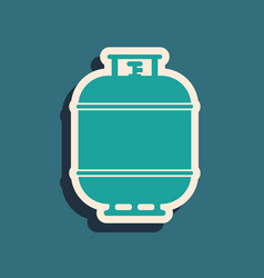 Green propane gas tank icon isolated on blue vector
