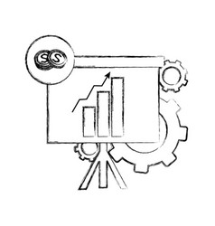 Grunge statistics bar growing presentation with vector