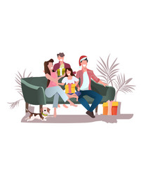 happy family with gift boxes sitting on sofa merry vector image