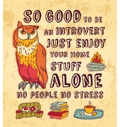 Happy introvert concept art color sign vector