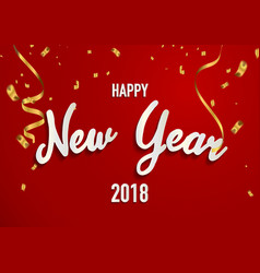 happy new year 2018 background with gold ribbons vector image