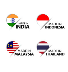 Indian indonesian malaysian and thai labels vector