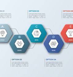 infographic template with hexagons 5 options vector image
