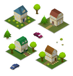 isometric set rural house and car vector image