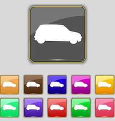 Jeep icon sign set with eleven colored buttons for vector