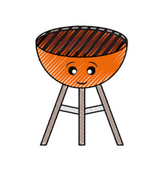 kawaii barbecue grill vector image