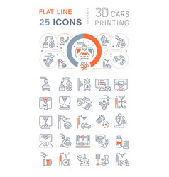 Line icons 3d cars printing vector