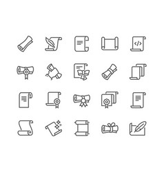 Line scrolls and papers icons vector