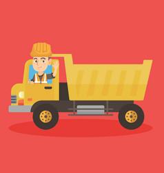 Little caucasian driver driving a dump truck vector