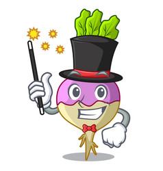 Magician raw rutabaga root isolated on mascot vector
