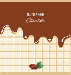 Melted chocolate background with sample text vector