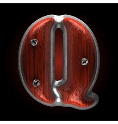 Metal and wood figure q vector
