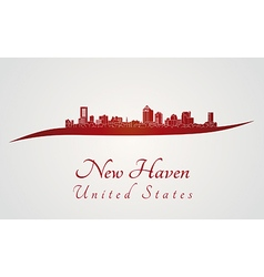 New Haven skyline in red vector image