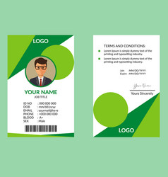 nice green id card vector image