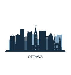 ottawa skyline monochrome silhouette vector image