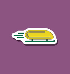 paper sticker on stylish background bobsled vector image