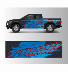 Pickup truck graphic abstract shape with grunge vector