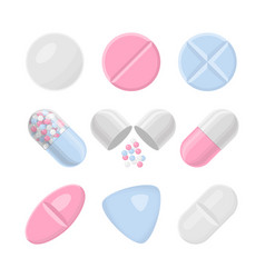 pills and drugs colorful realistic icon set vector image