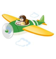 Pilot flying jet in the sky vector