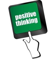 Positive thinking button on keyboard - social vector
