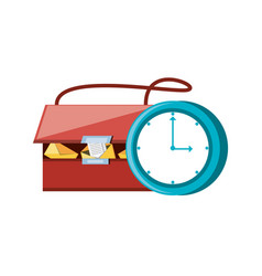 Post bag with time clock vector