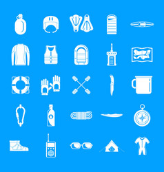 Rafting kayak water canoe icons set simple style vector