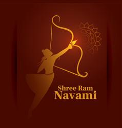 Ram navami greeting card with bow and arrow vector