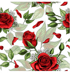 red rose bouquets and green leaves elements vector image