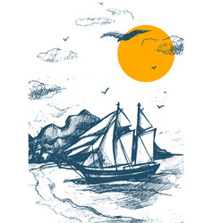 Sailing yacht silhouette sketch sea vector