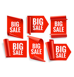 sale banner set realistic red glossy paper ribbon vector image