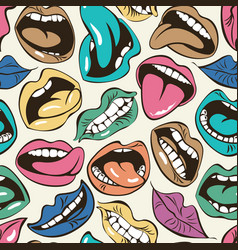 seamless pattern colored woman lips and mouths vector image